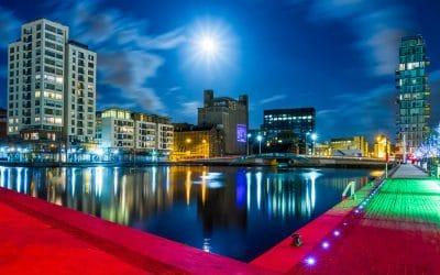 Moonburst at the Grand Canal Docks by John Coveney