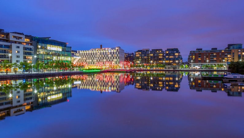Grand Canal Dock - Pink Dusk at the Docklands by Janet Wippell