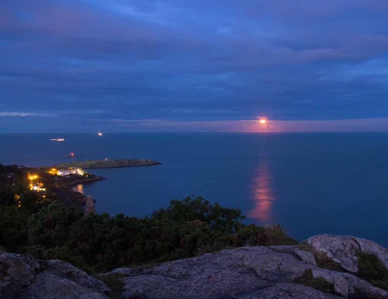 Killiney Hill Sunset - Red Moon by Phil Tung